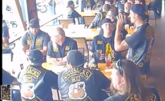 Cossacks seated at every spot on the patio in Twin Peaks on 5-17-15 around 11:30am