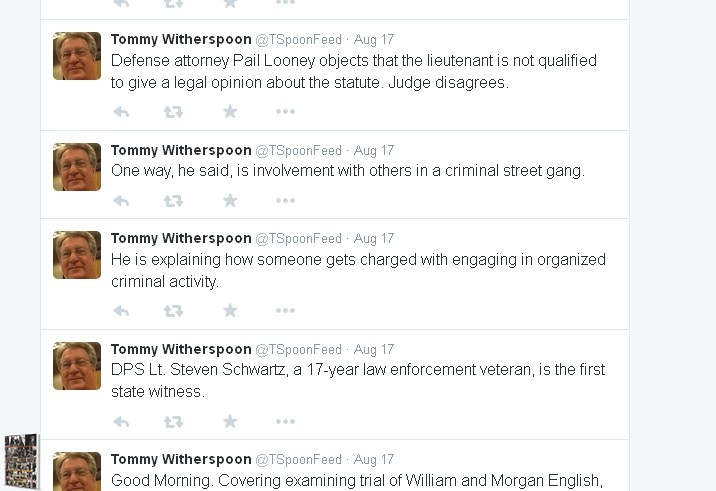 Tommy Witherspoon of the Waco Tribune Tweets - English Trial