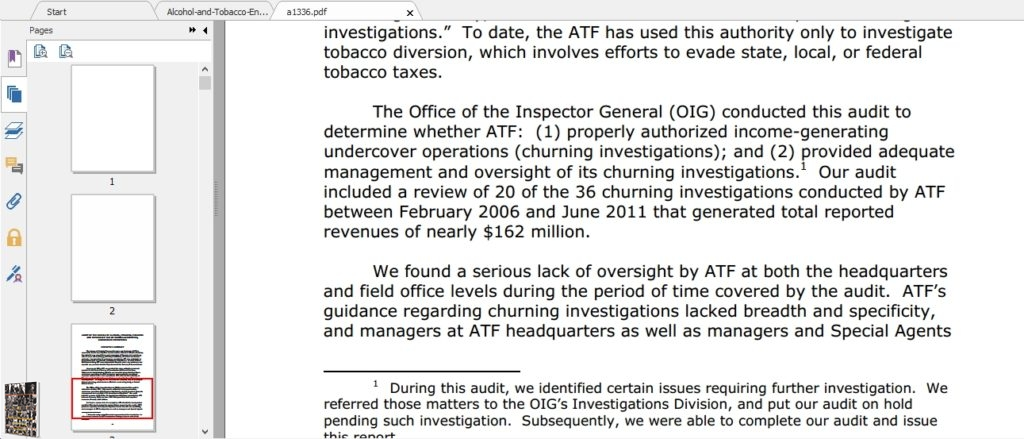 BATFE a1336 churning investigations 2013